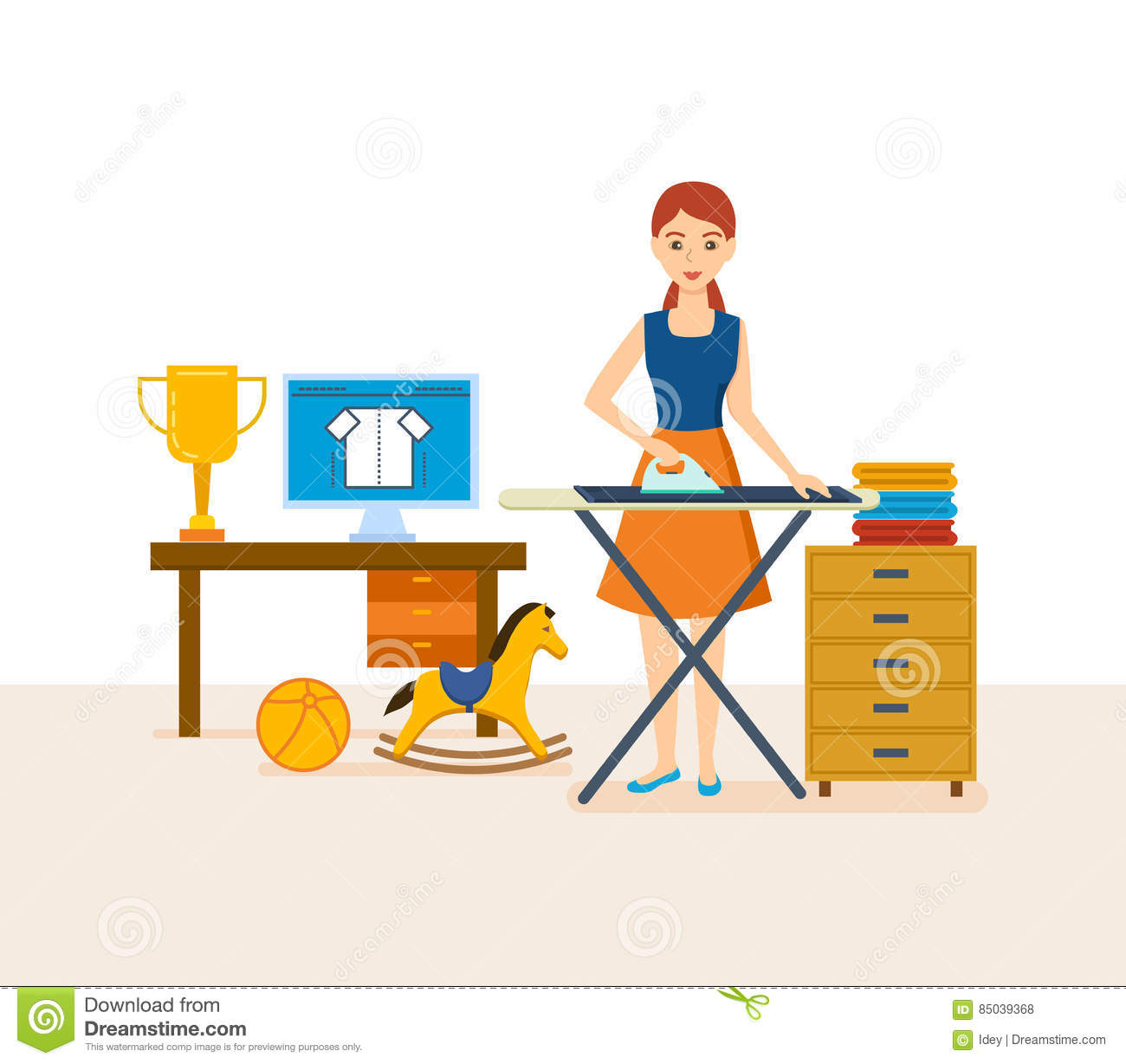 young housewife engaged in household chores cleaned strokes things