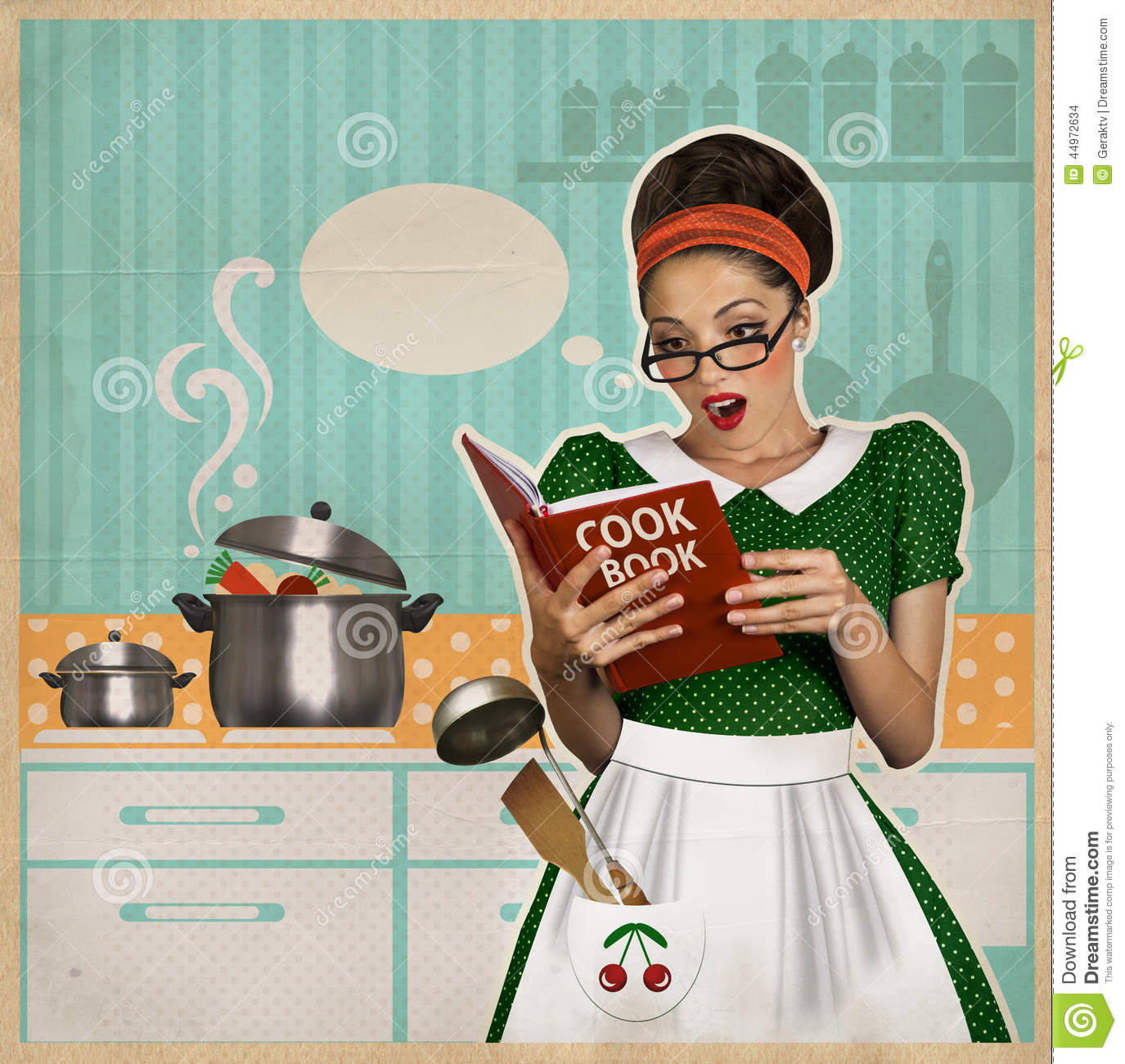 Retro Kitchen Illustration: Young Housewife In The Kitchen.Retro Card On Old Paper