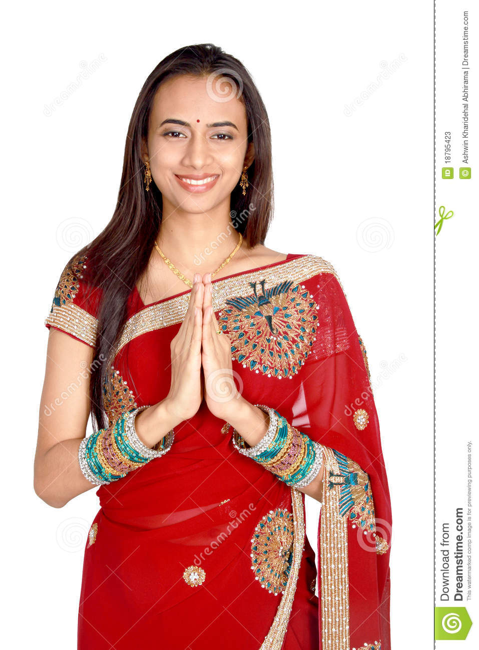 Young Indian In A Namaste Greeting Pose Stock Image