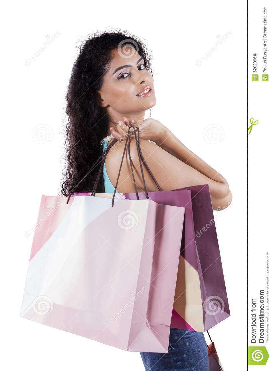 Beautiful Asian Woman Holds A Christmas Gift Stock
