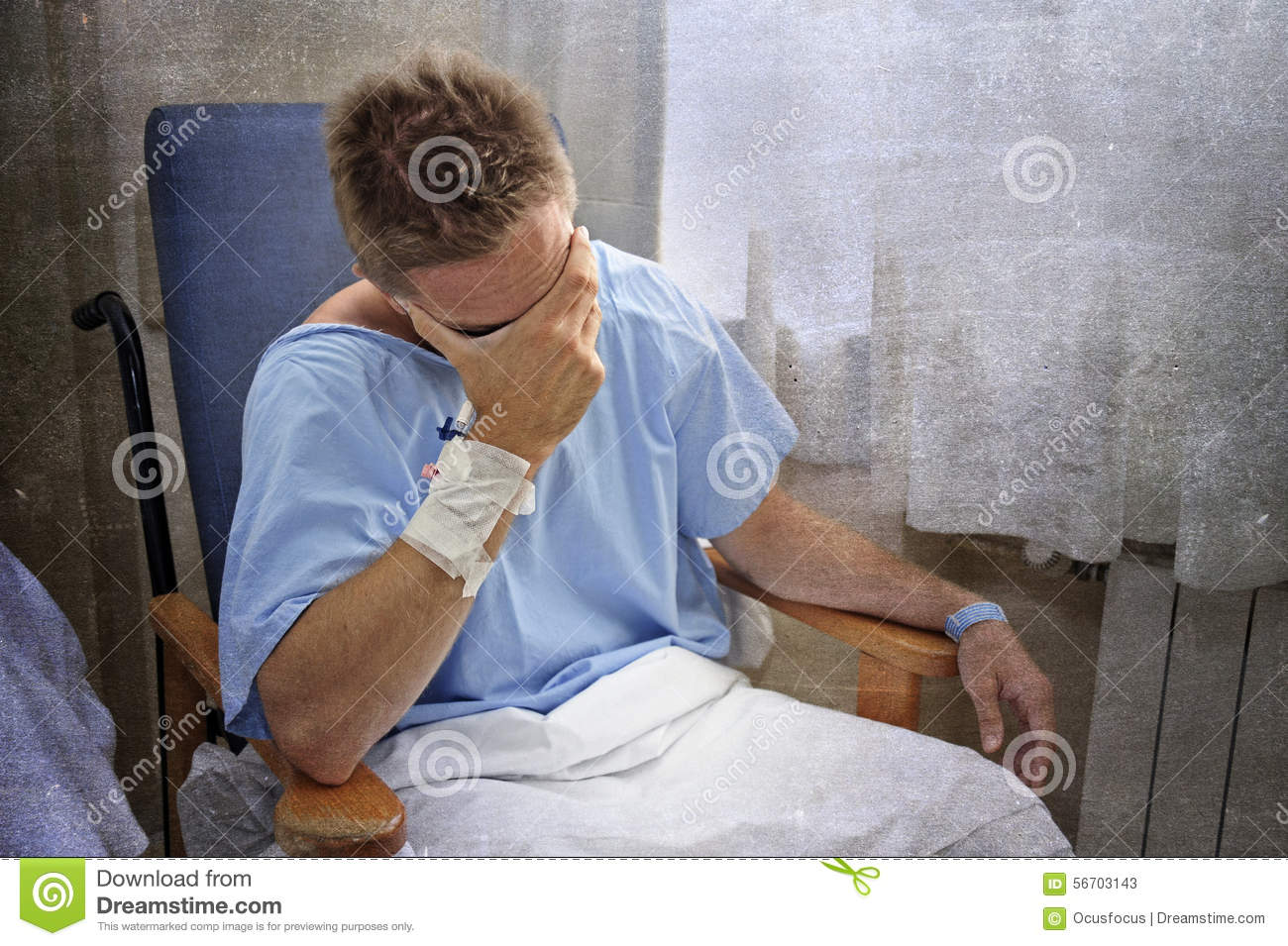 Young injured man crying in hospital room sitting alone crying in pain worried for his health condition