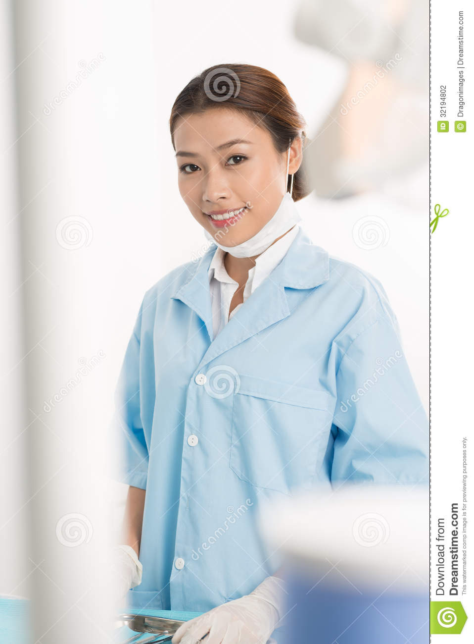 Vertical Portrait Of Pretty 14 Year Old Girl Stock Image: Young Intern Stock Photo. Image Of Looking, Gloved, Glance