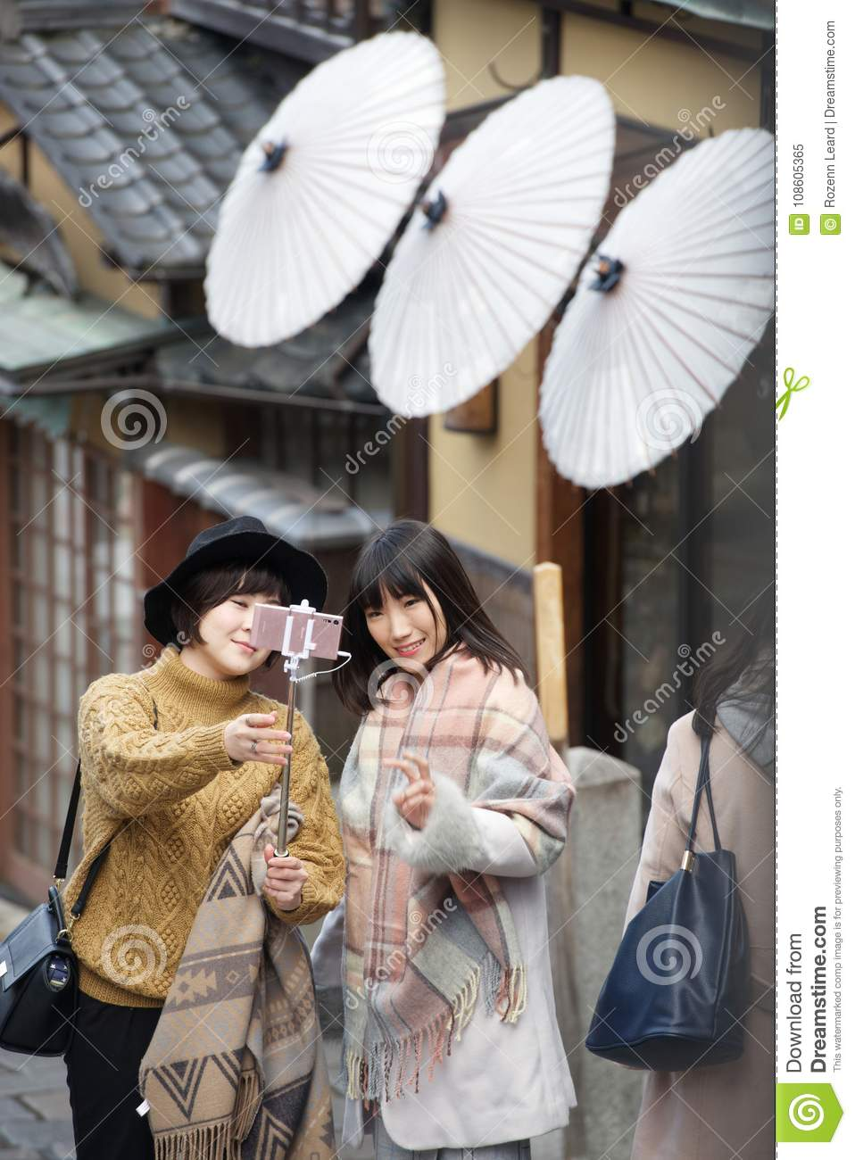 Young Japanese girls taking a selfie