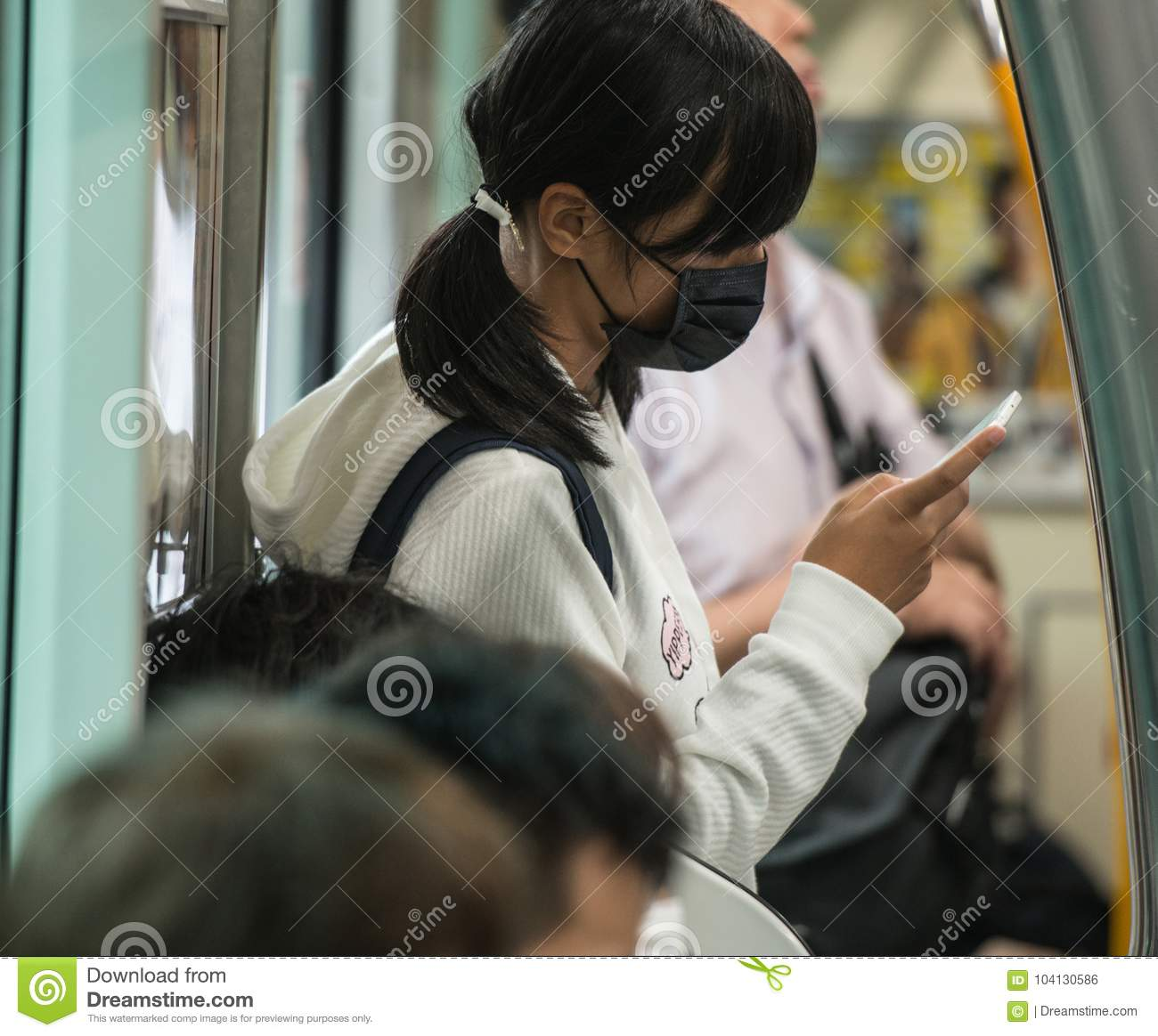 Japan School Girl Surgical And Dressed Mask In Uniform