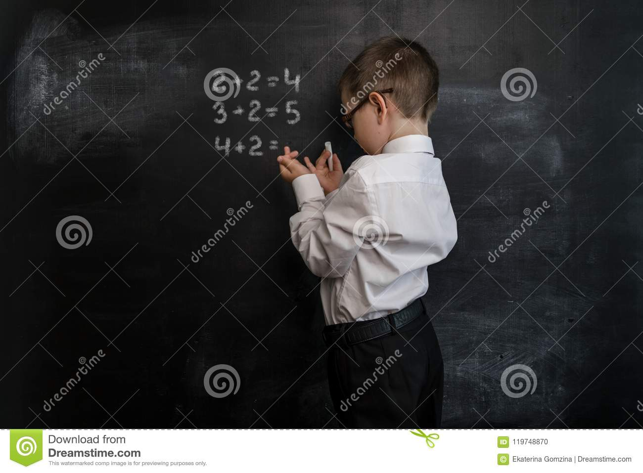 Young Kid`s Solving Elementary Maths Expression. Back To School ...