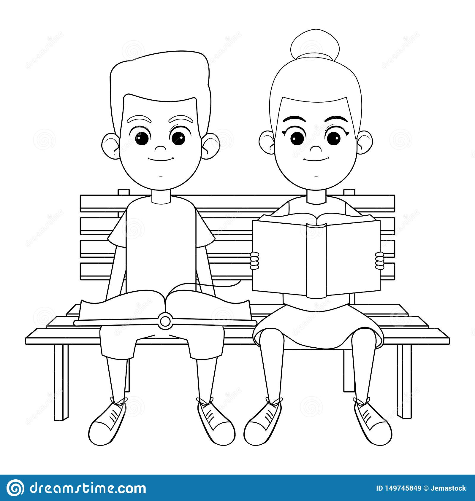 Groovy Young Kids With Books On A Bench Black And White Stock Machost Co Dining Chair Design Ideas Machostcouk