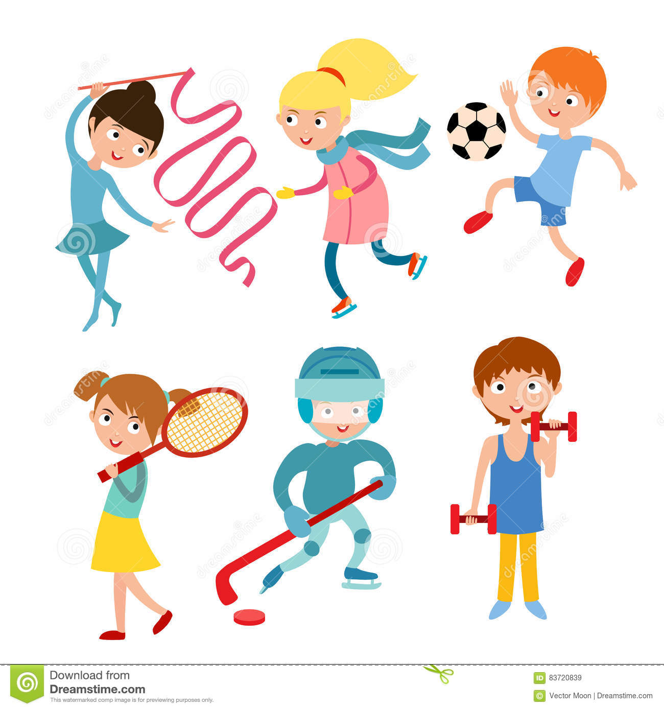 Young Kids Sportsmens Isolated On White Vector Illustration Stock Vector