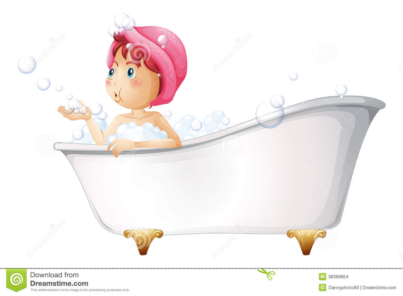 A Young Lady At The Bathtub Stock Vector Illustration Of