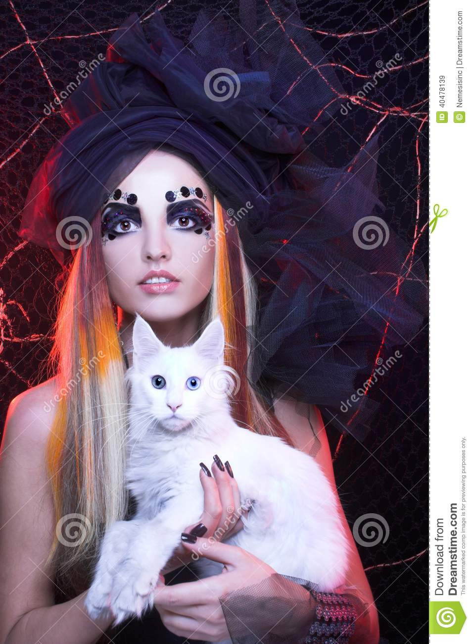 young lady with cat  stock image  image of black  devil
