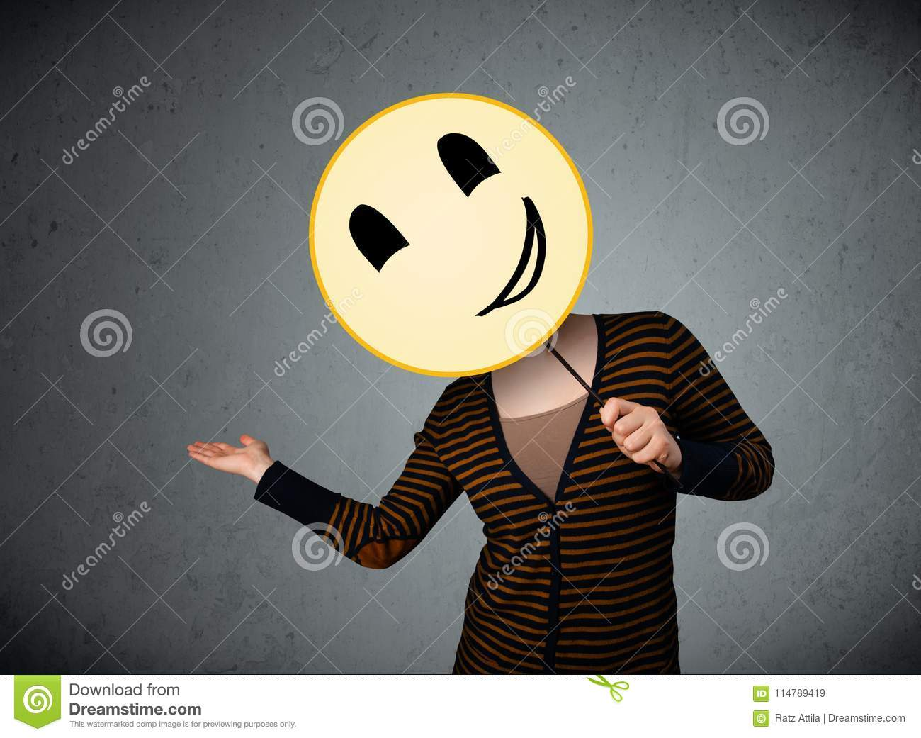 Young Woman Holding A Smiley Face Emoticon Stock Image Image Of