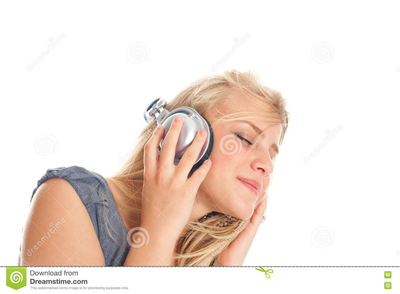 Young Lady Listening To Music On Headphones Royalty Free ...