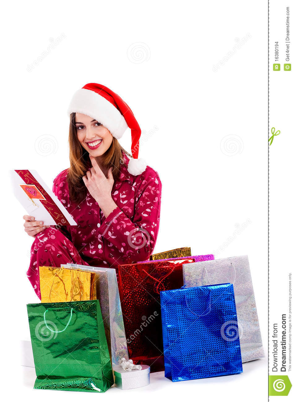 Young Lady Reading Christmas Card Stock Photo - Image of cheerful ...