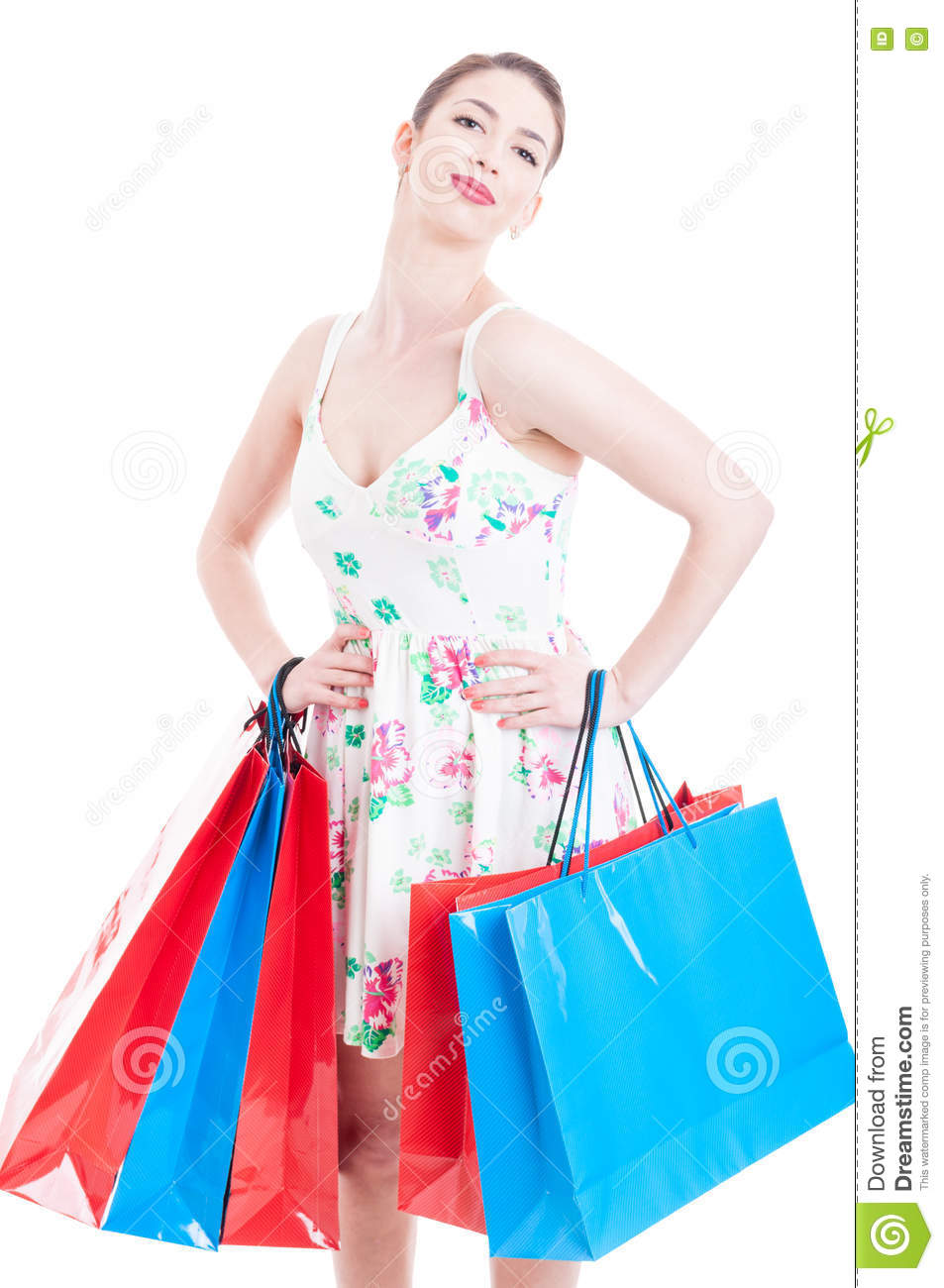 Woman posing with shopping bags isolated on white background full - Young Lady At Shopping Posing With Gift Bags