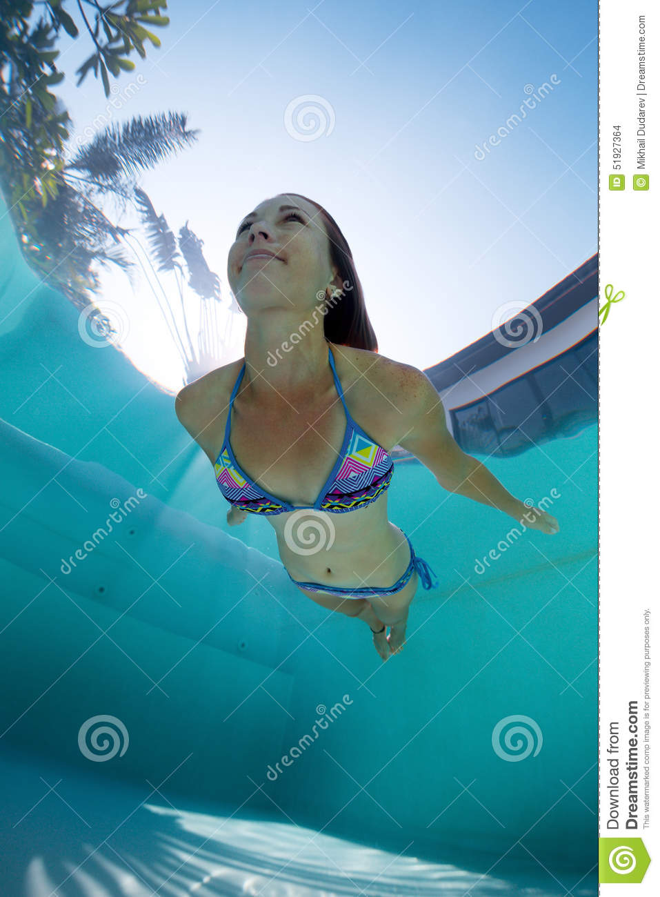 Young Lady Swimming Underwater Stock Photo - Image of dive, blue