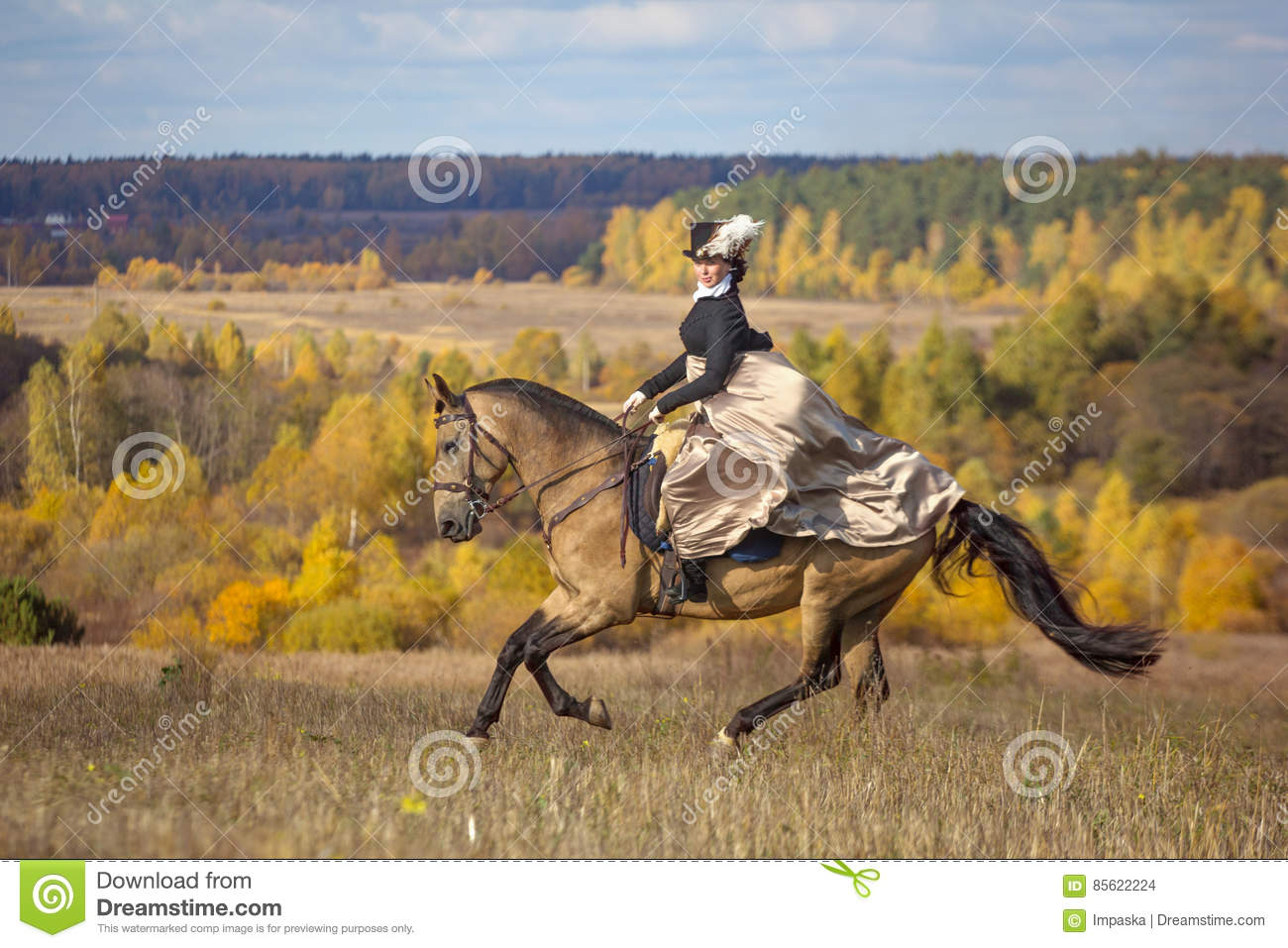 Young lady in 19th century dress riding a akhal teke horse