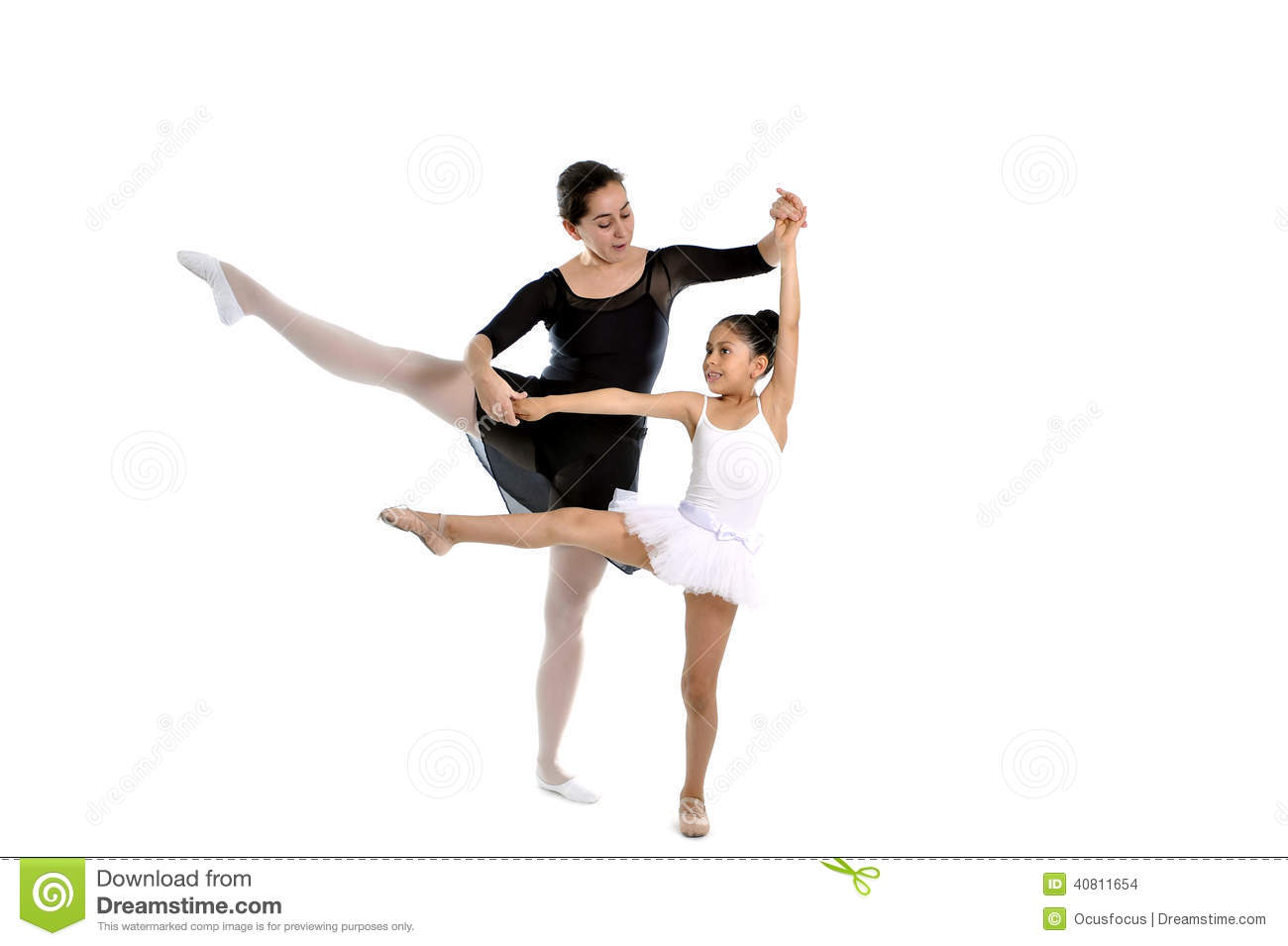 Young Little Girl Ballerina Learning Dance Lesson With ...