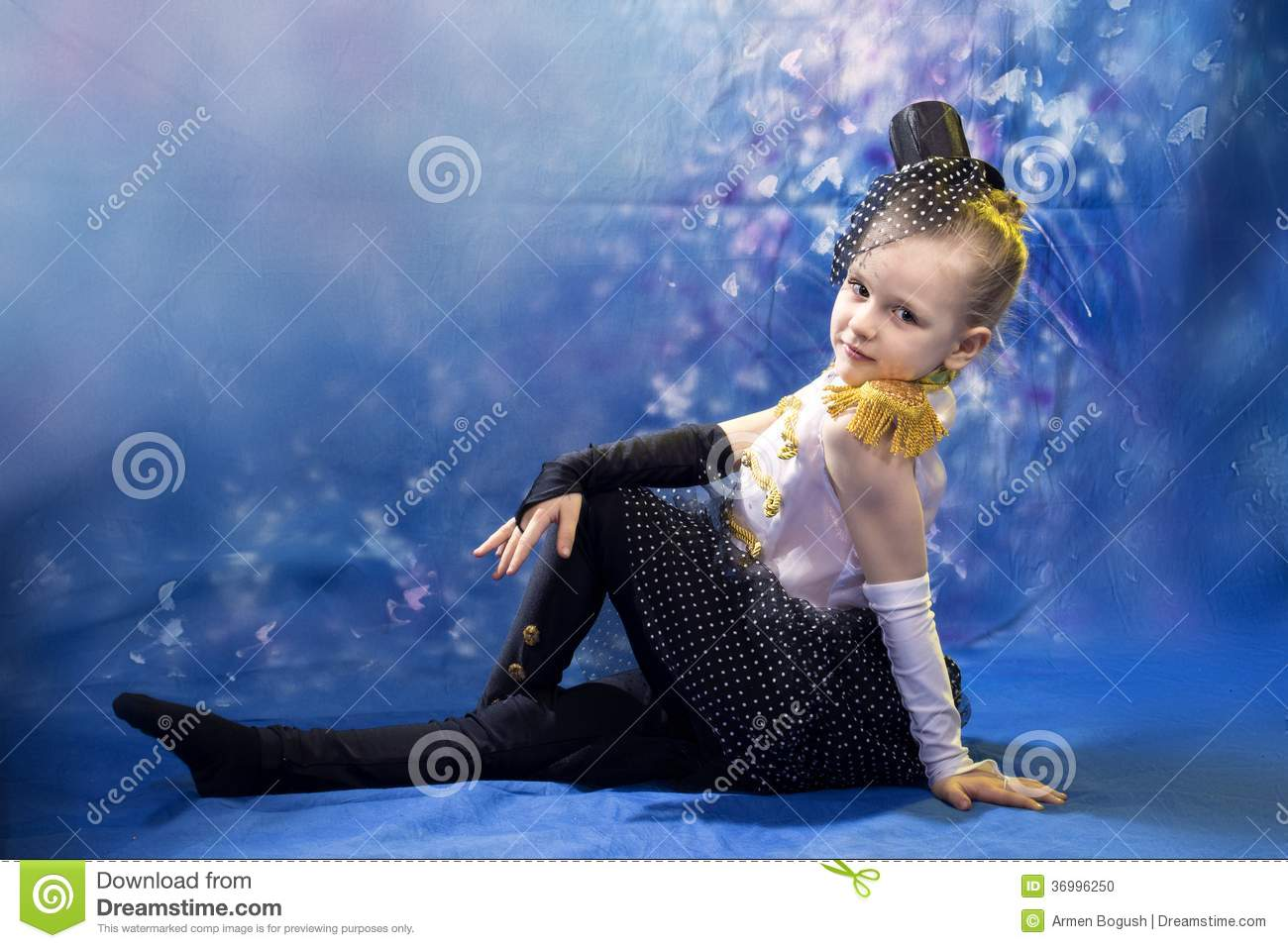 young little girl in dance costume stock photo image