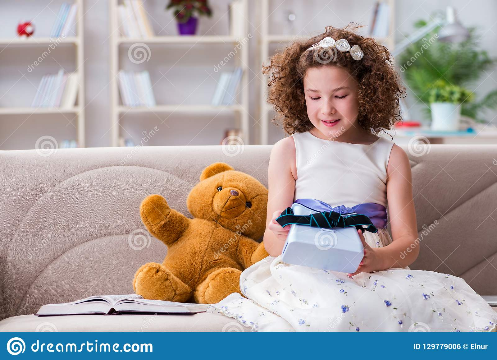 Young Little Girl With VR Virtual Reality Glasses Stock