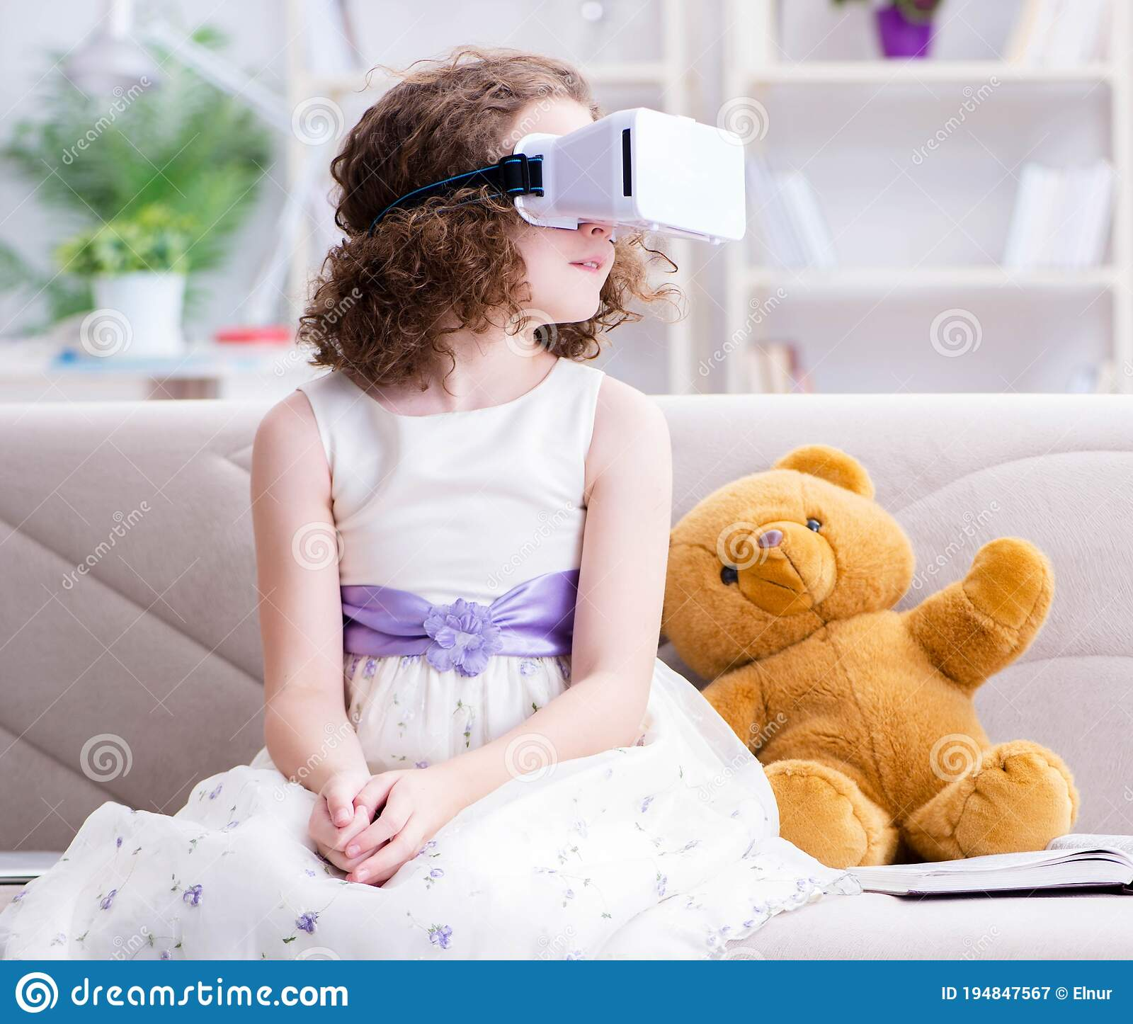 Young Caucasian Girl Using Virtual Reality Glasses High