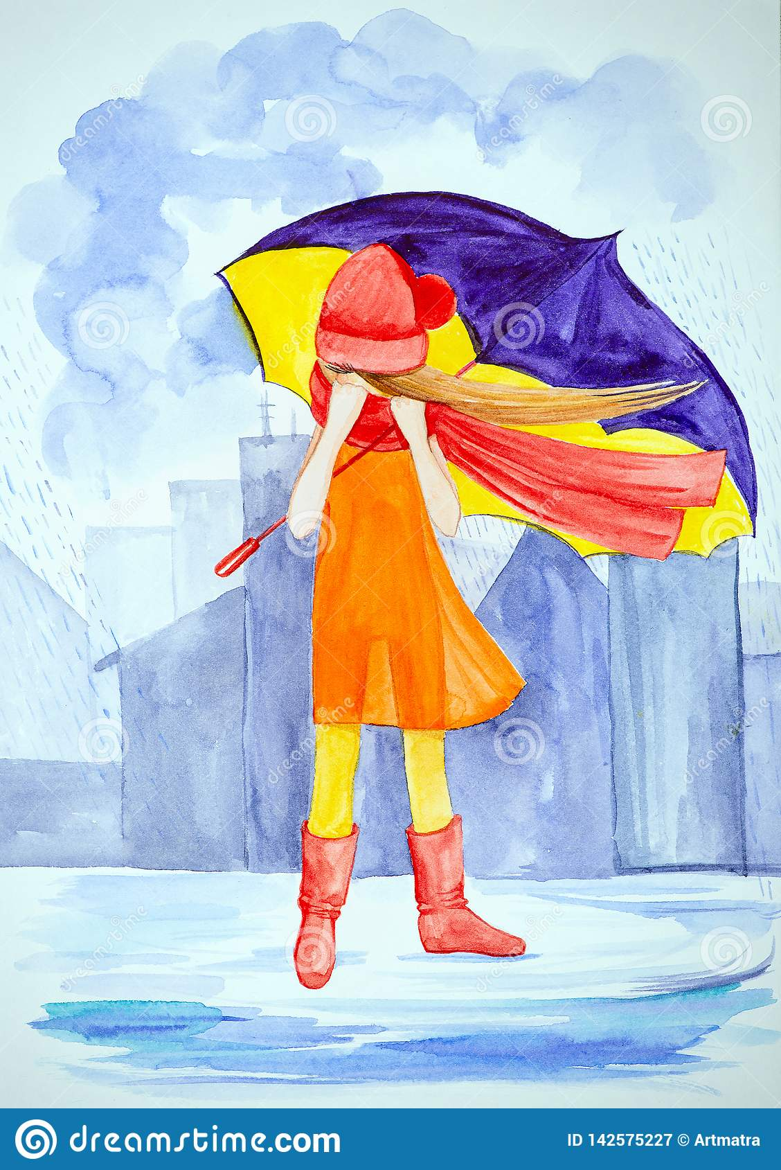 A young lonely girl with a purple big umbrella stands in the rain in the city among the buildings. Dressed in a light orange dress