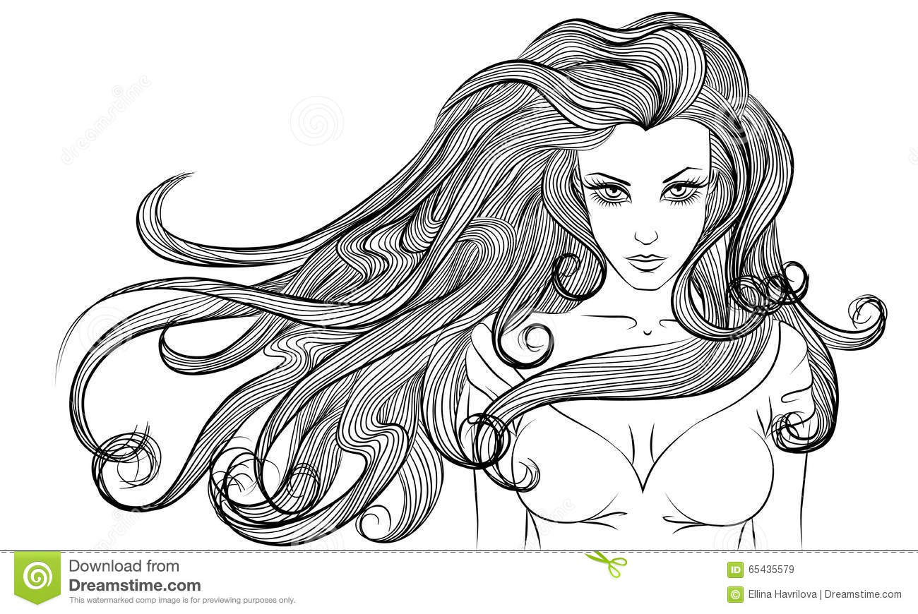 Young Long Hair Woman Outline Monochrome Drawing Stock Vector