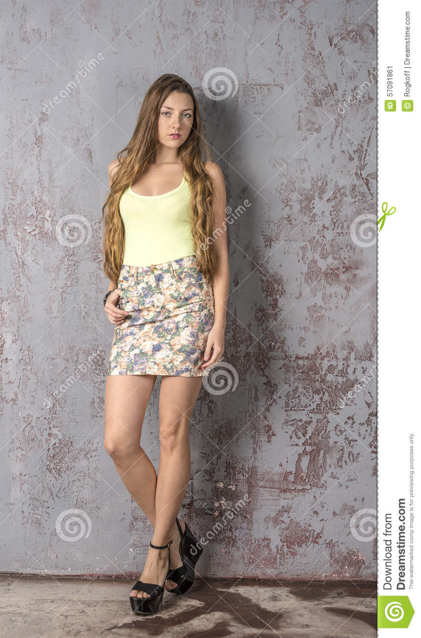 with blonde short Girl skirt hair curly