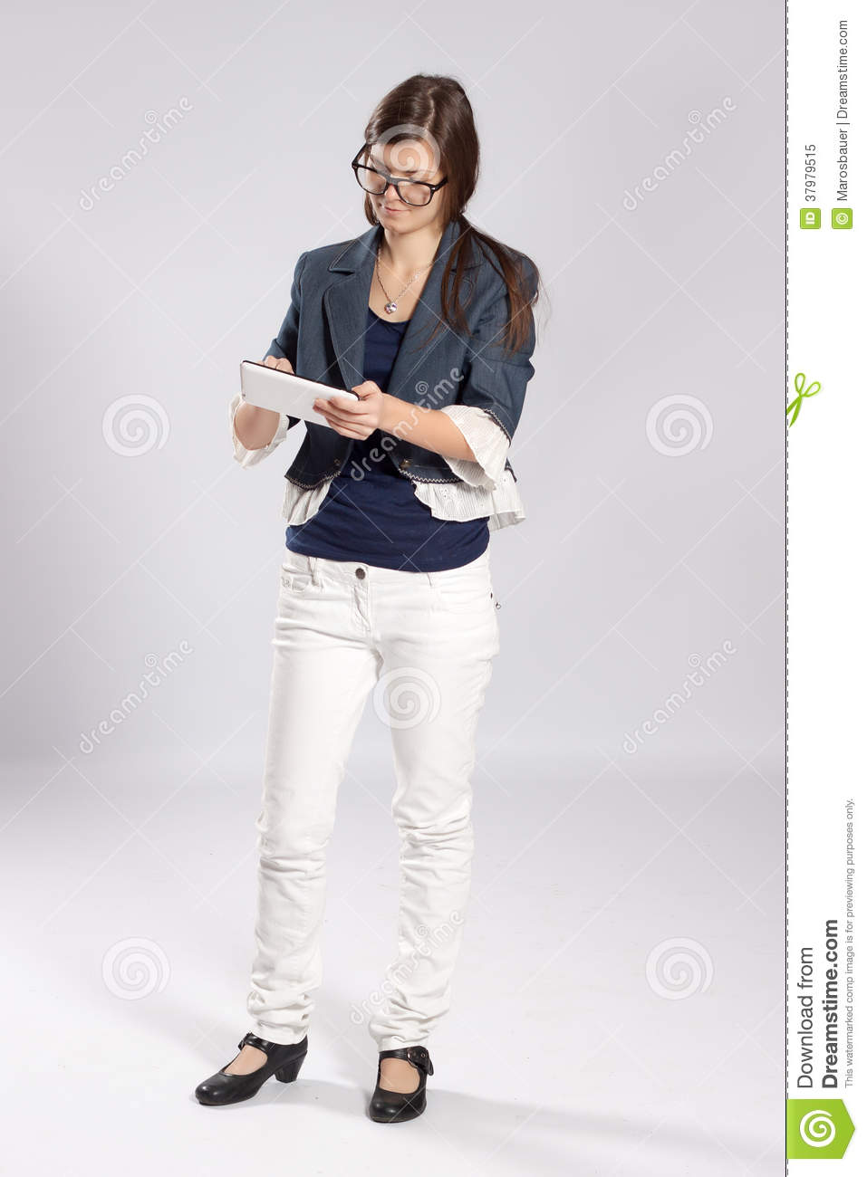 Young Long-haired Woman And Tablet Stock Photo ...
