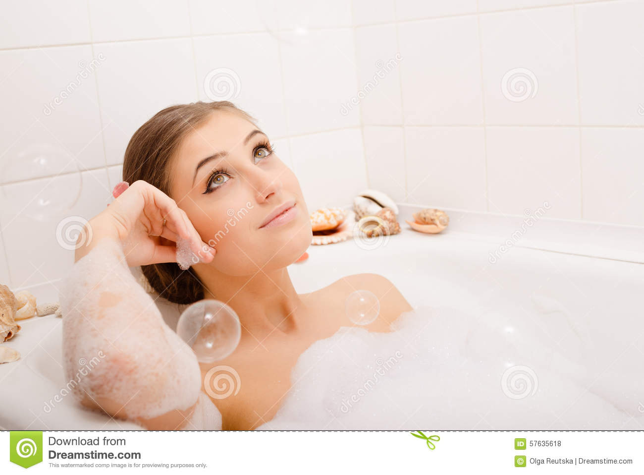 Young lovely woman in foam bath stock photo image 57635618 for Bathroom models photos