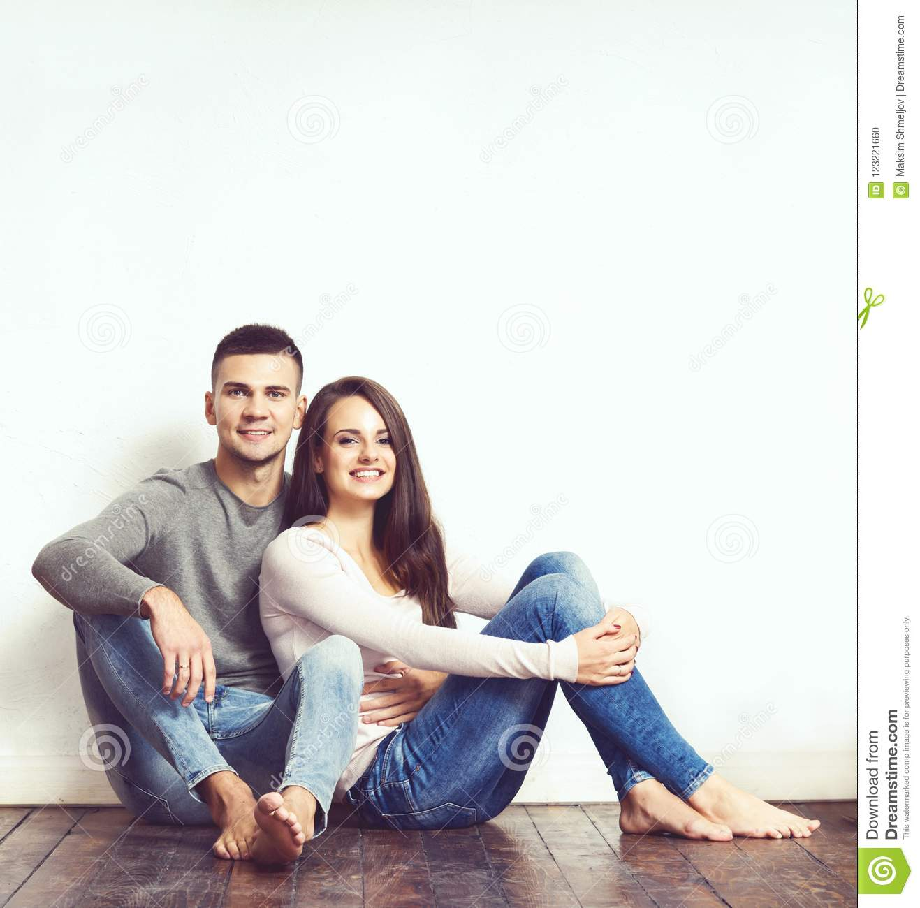 Young loving couple. Home, family concept. Man and woman relations.