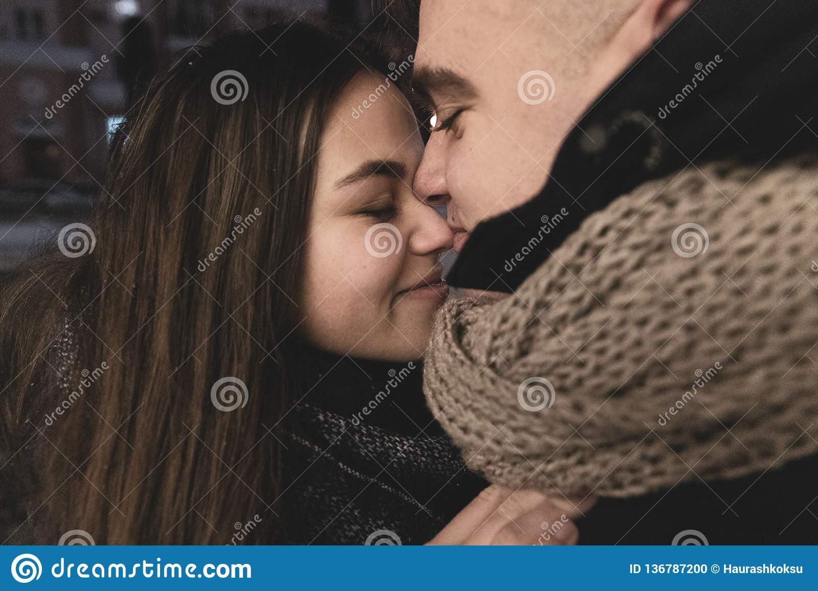 Adolescents in Love Outside the Room. Life Style. Winter Concept