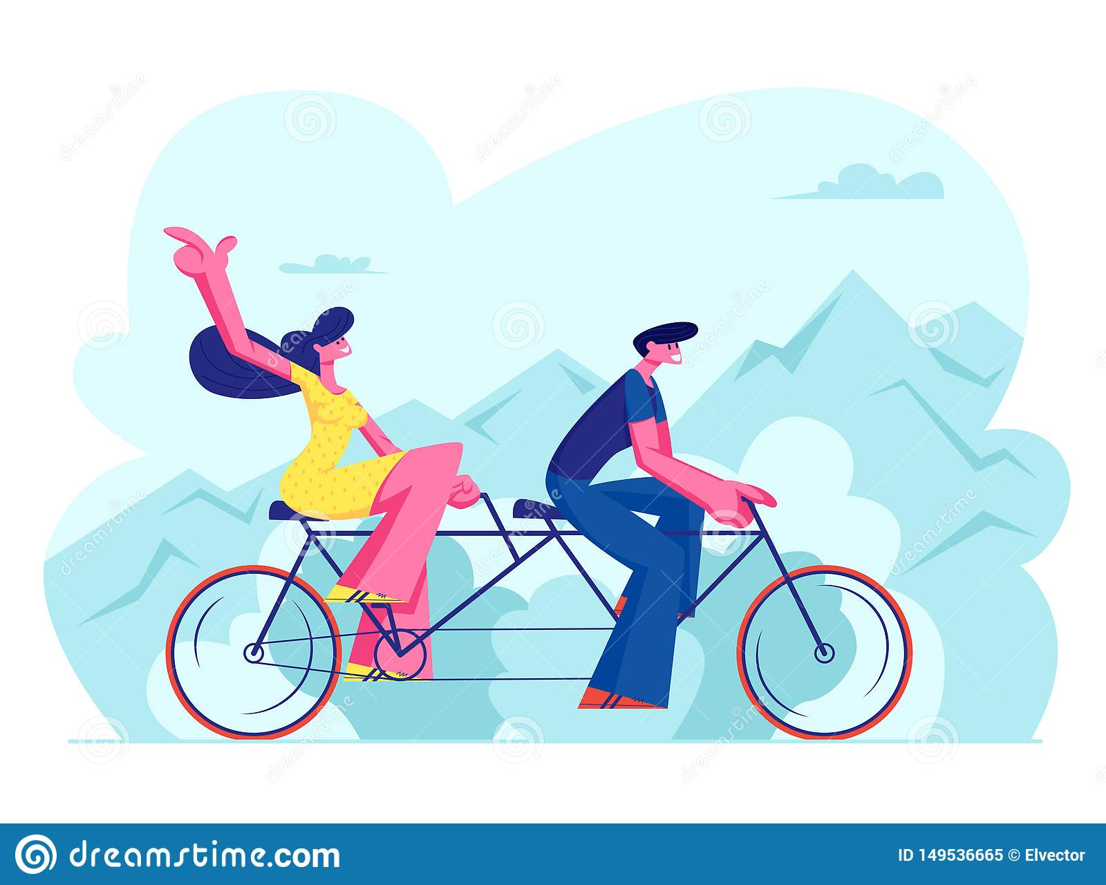 Young Loving Couple Riding Tandem Bicycle Together. Summer Time Vacation Sparetime, Leisure, Romantic Voyage