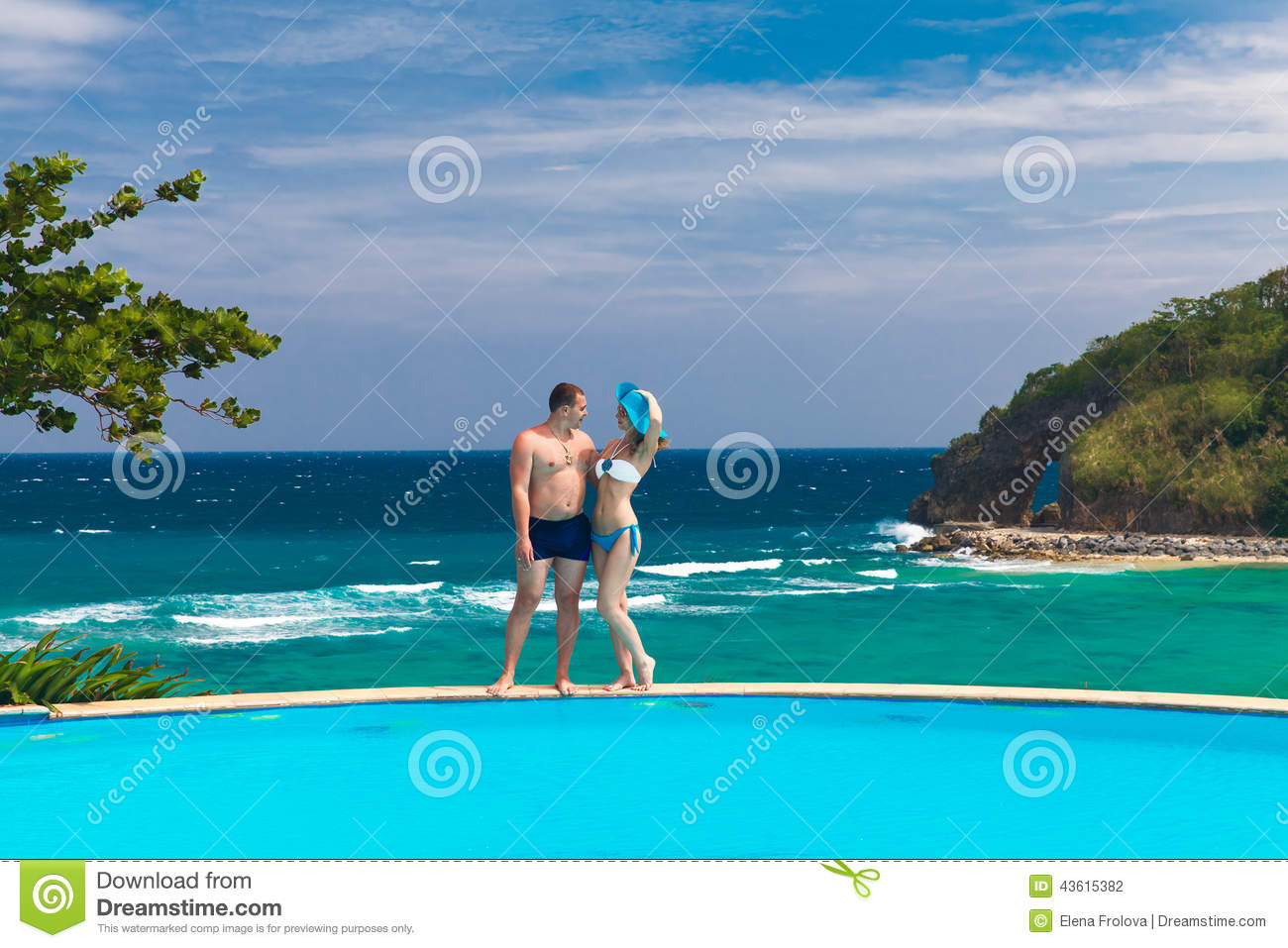 young loving happy couple on tropical beach summer