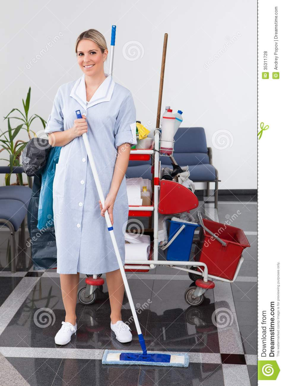 Young Maid Cleaning The Floor Royalty Free Stock Photos Image 35311728