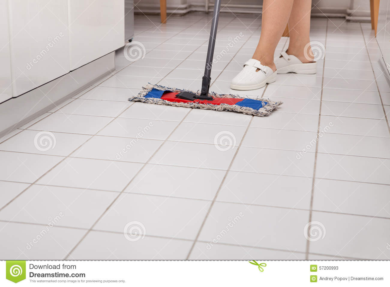 Mopping Kitchen Floor Young Woman Mopping Kitchen Floor Stock Photos Images Pictures