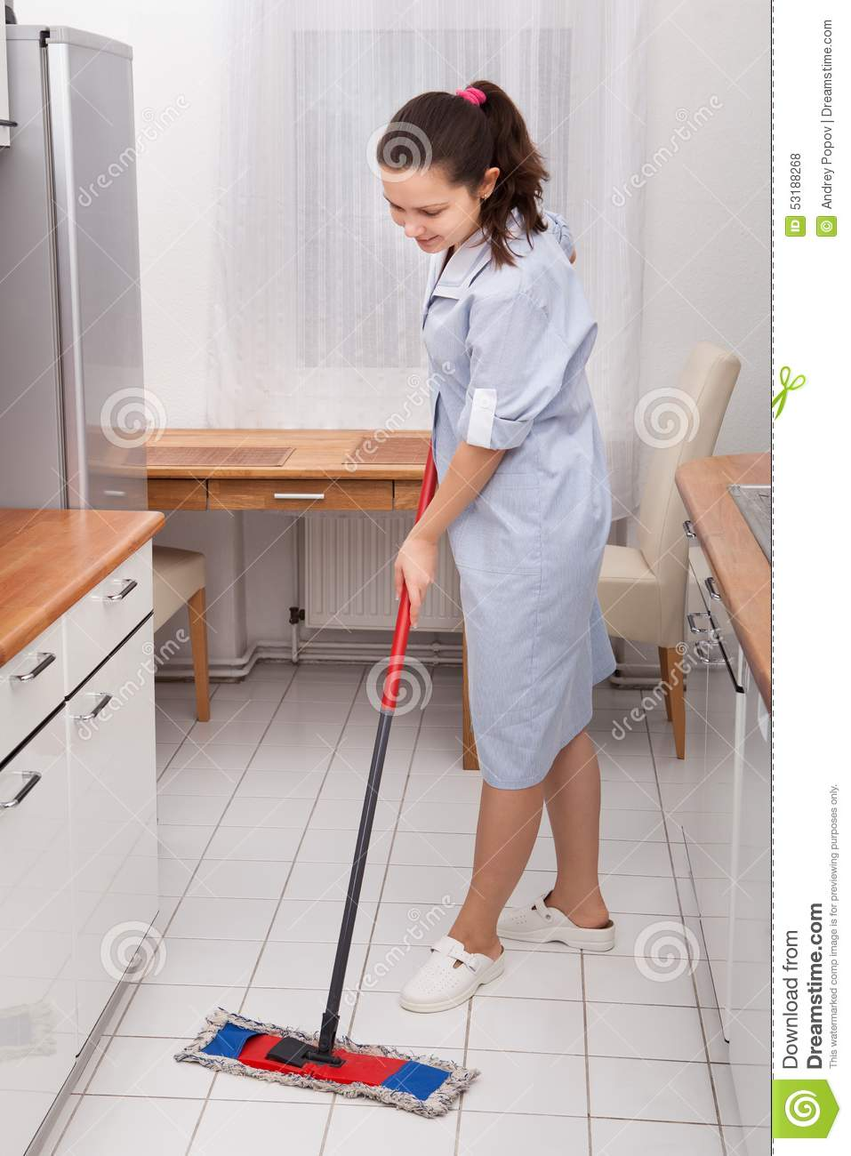 Mopping Kitchen Floor Young Maid Cleaning Kitchen Floor Stock Photo Image 53188268