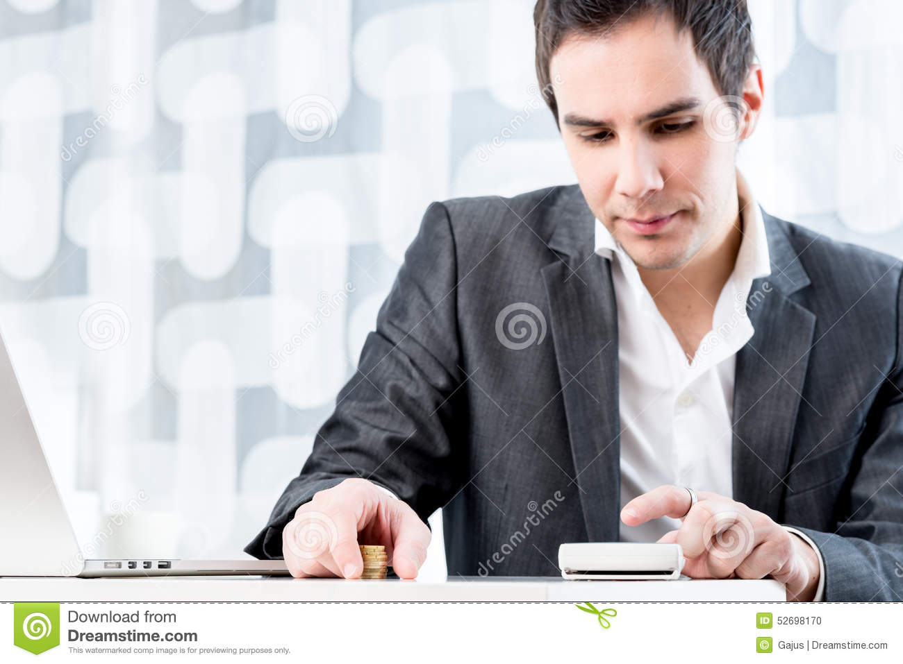 Confident Accountant With Calculator And Documents At Desk Stock ...