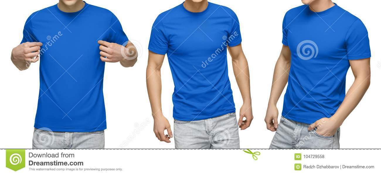 Young male in blank blue t-shirt, front and back view, isolated white background . Design men tshirt template and mockup for print