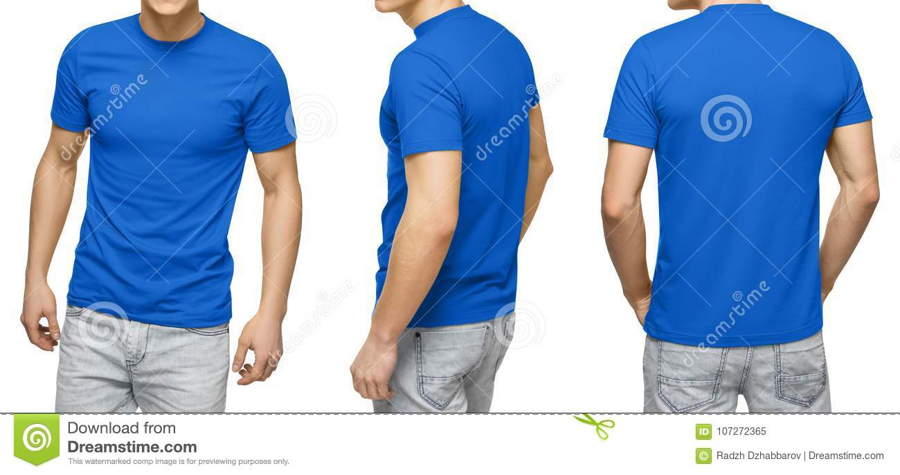 Young Male In Blank Blue T Shirt Front And Back View Isolated White Background With Clipping Path Design Men Tshirt Template Mockup For Print