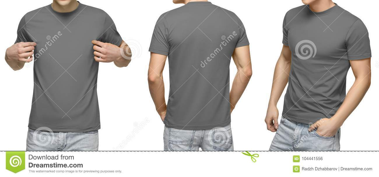 7ca0feb7 Young male in blank gray t-shirt, front and back view, isolated white  background with clipping path. Design men tshirt template and mockup for  print.