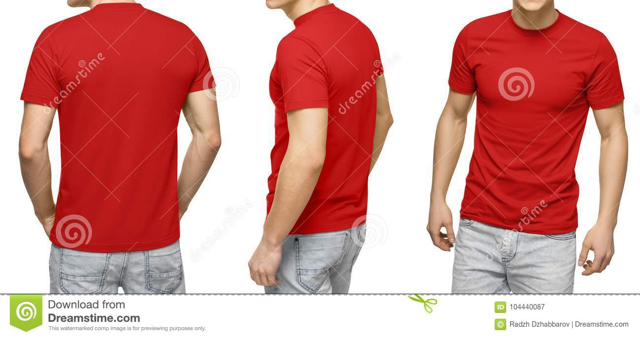 1ab21764 Young male in blank red t-shirt, front and back view, isolated white  background with clipping path. Design men tshirt template and mockup for  print.