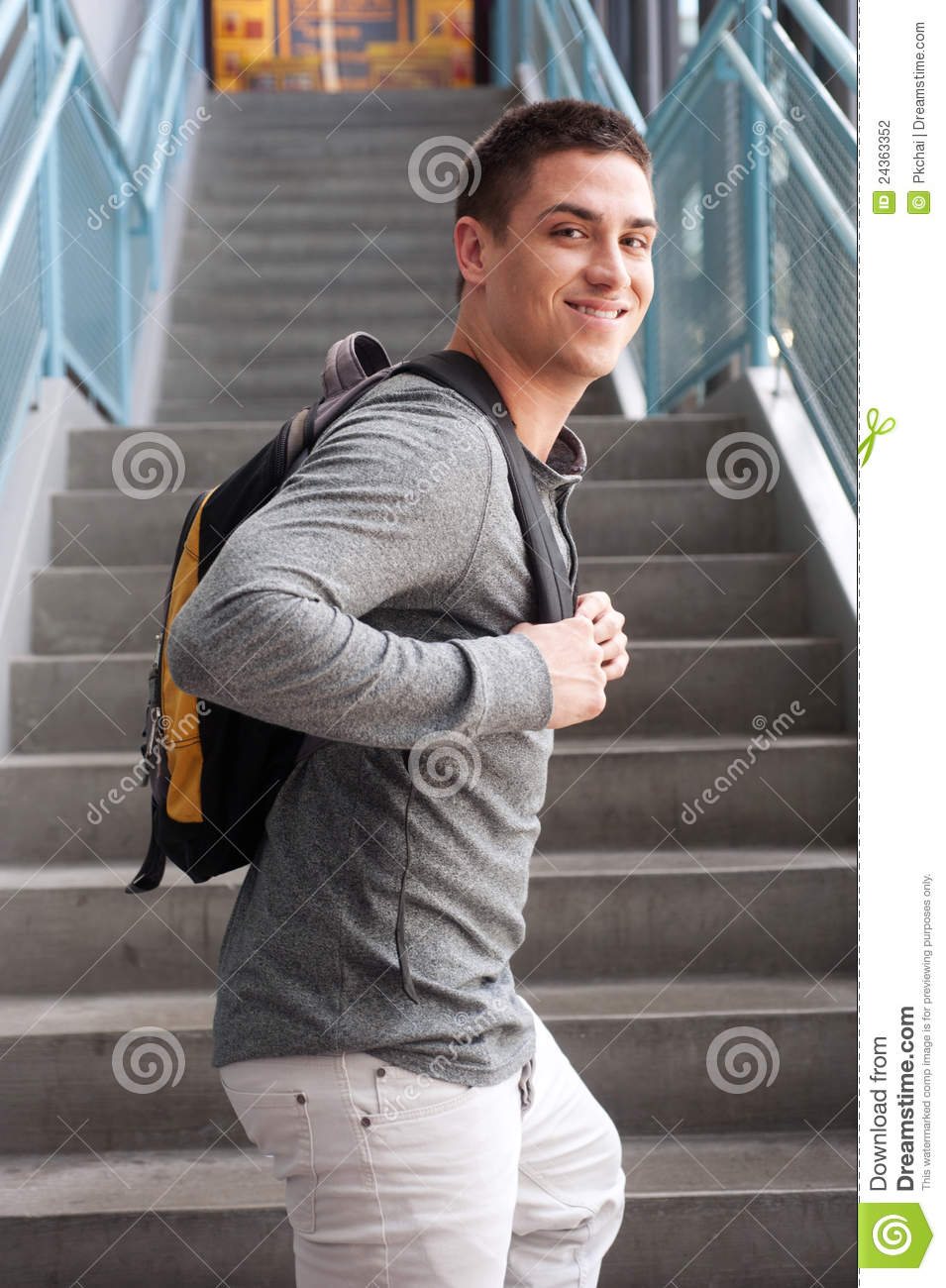 Young Male College Student With Backpack Stock Photography - Image ...