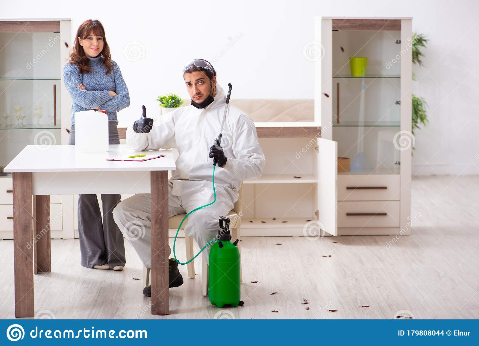 Young Male Contractor And Female Client During Pest ...