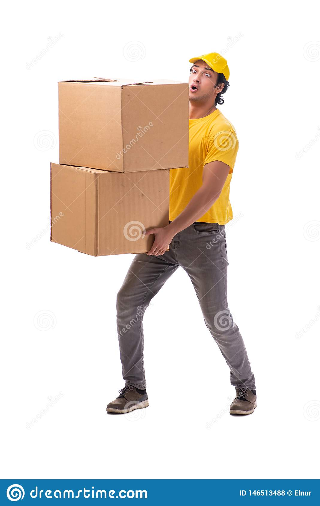 The young male courier with box