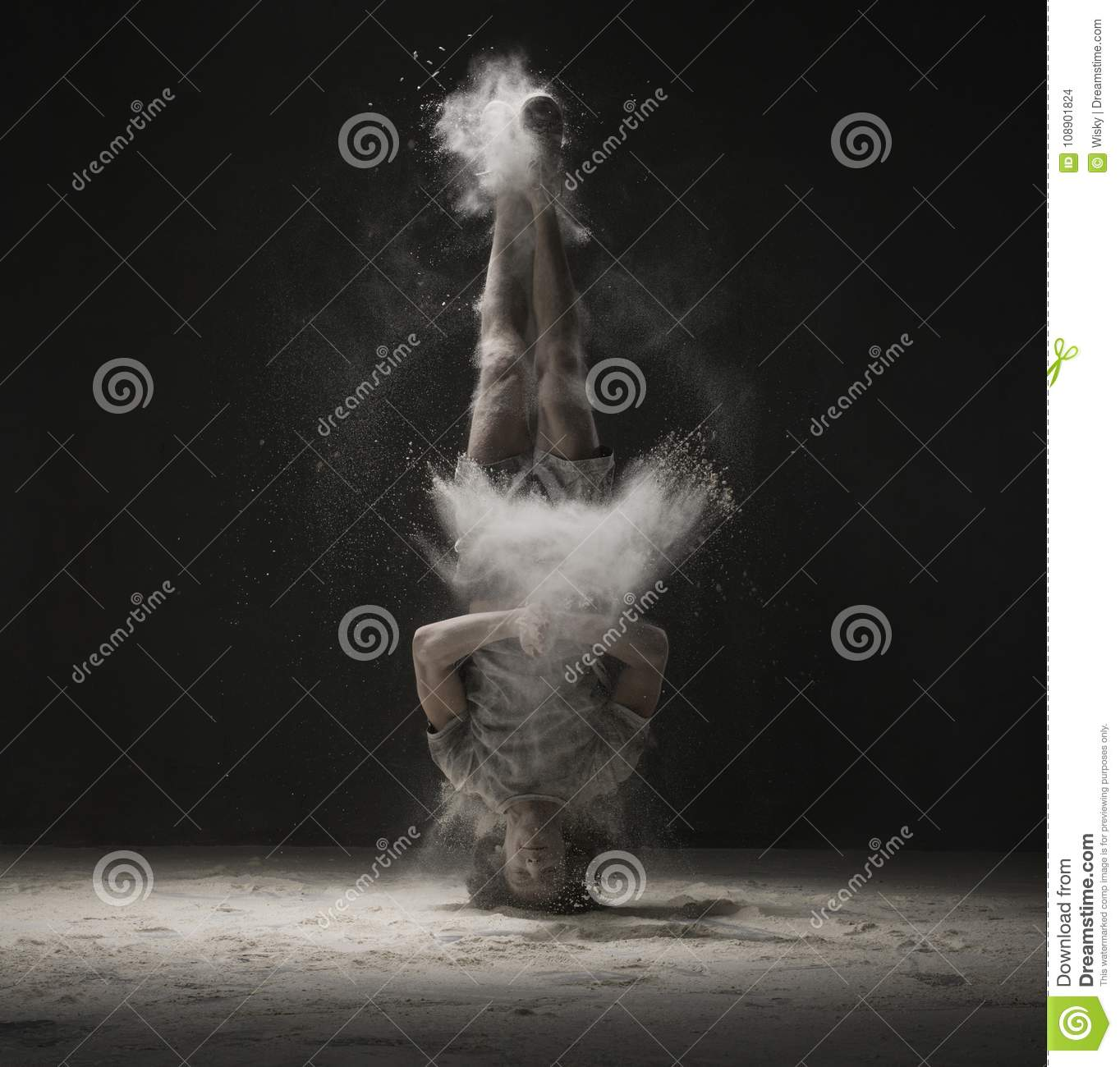 Download Young Dancer Doing A Headstand In Dust Cloud View Stock Photo - Image of elastic, dancer: 108901824