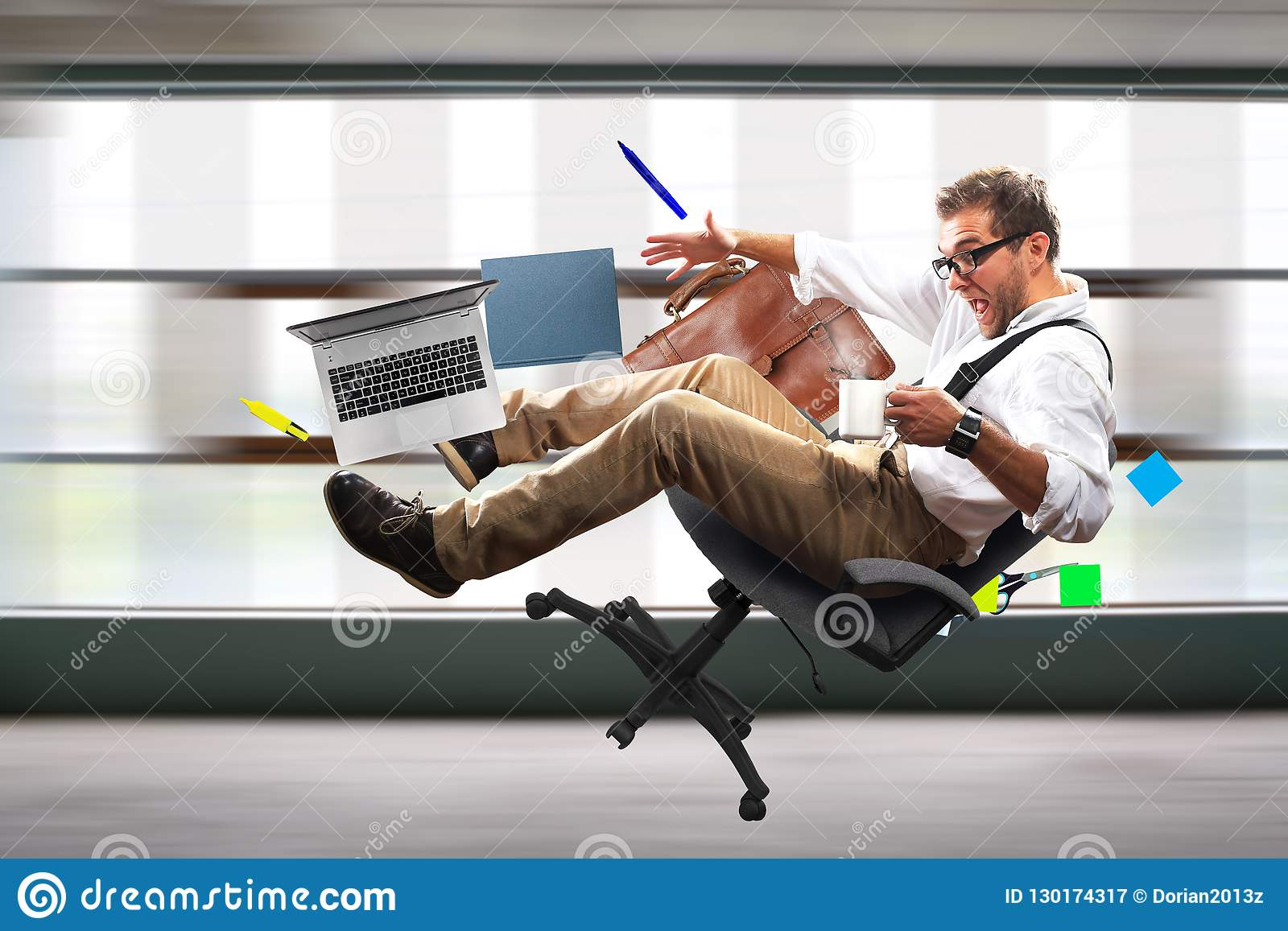 Young male employee is falling