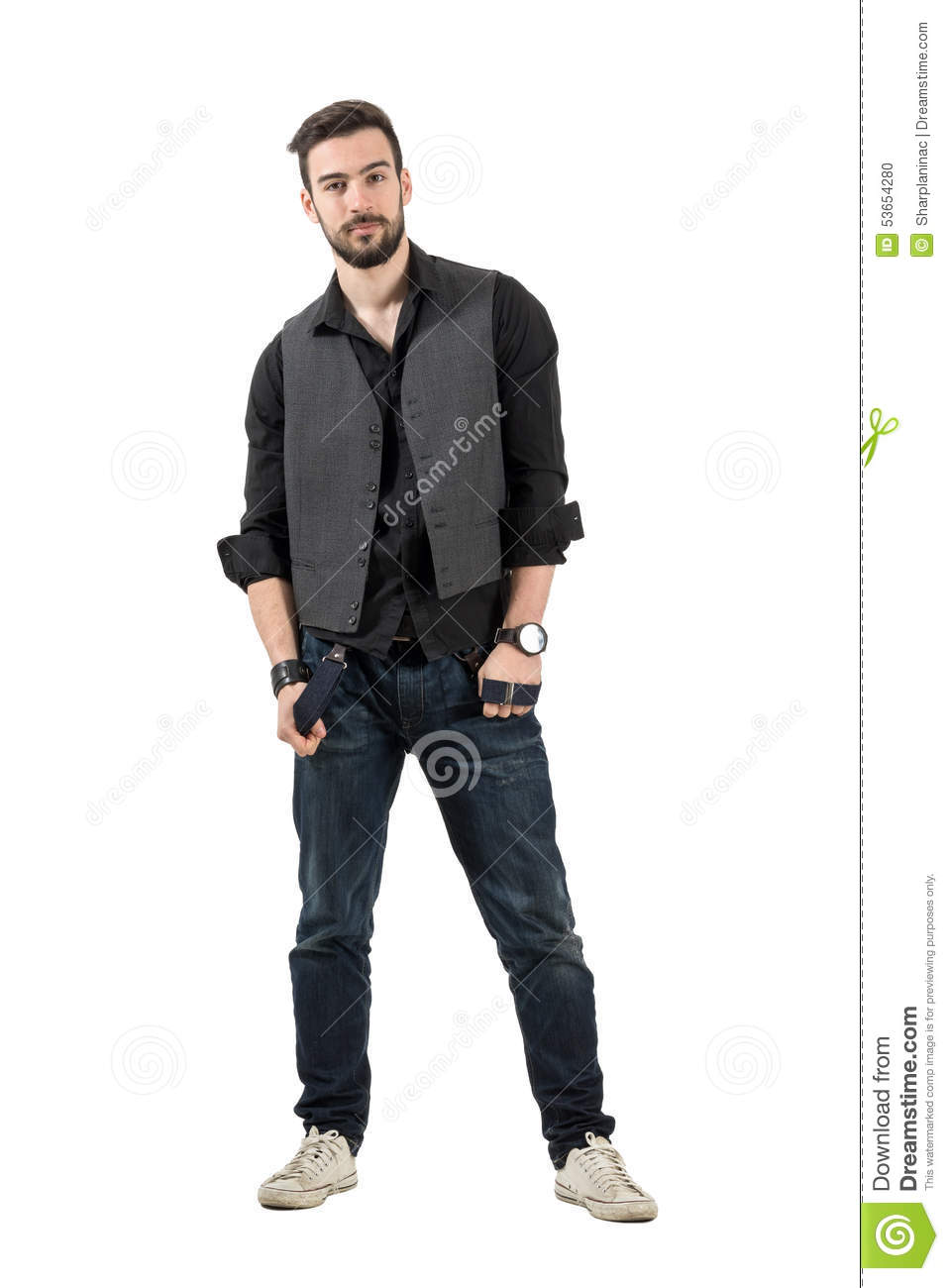Young Male Fashion Model Holding His Suspenders Looking At Camera Stock Photo Image 53654280