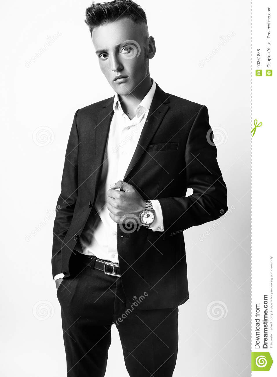 Young Male Model Posing In Studio Stock Photo Image Of Model Enticement 90361858