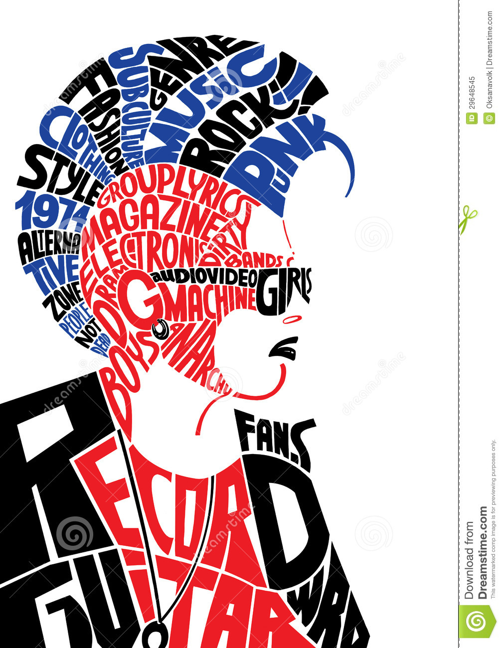 Young Male Punk Subculture Typographic Portrait Stock