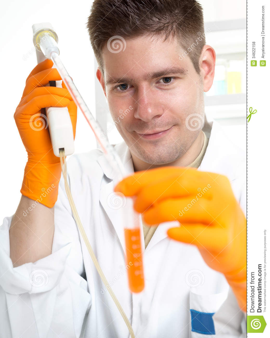 young male scientist at work stock photo image of interior portrait 34622158