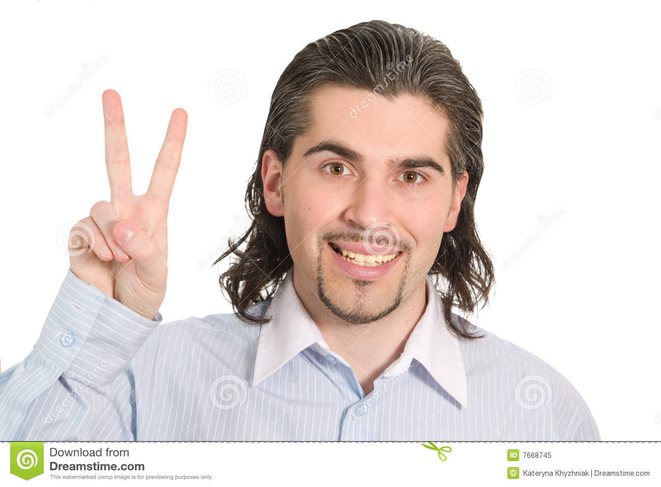 Young male shows victory sign isolated white